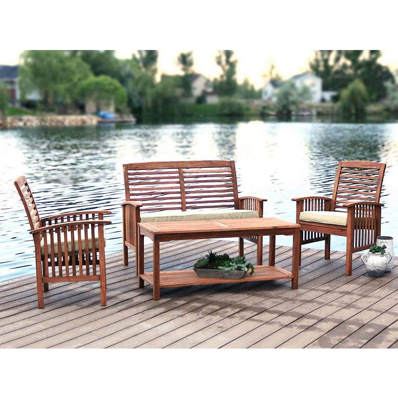 Amazing Kevin Brown 4 Piece Patio Conversation Set With Cushions Unemploymentrelief Wooden Chair Designs For Living Room Unemploymentrelieforg