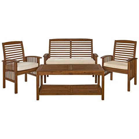 Kevin Dark Brown 4-Piece Patio Conversation Set and Cushions
