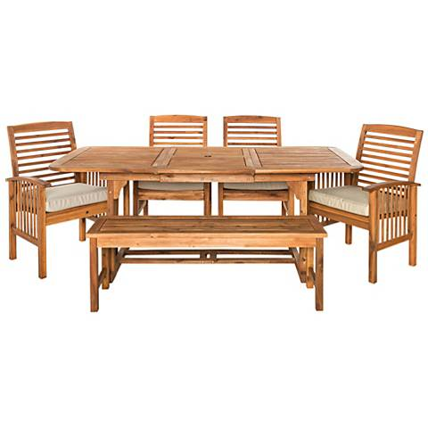 Blake Brown Acacia 6-Piece Patio Dining Set with Cushions