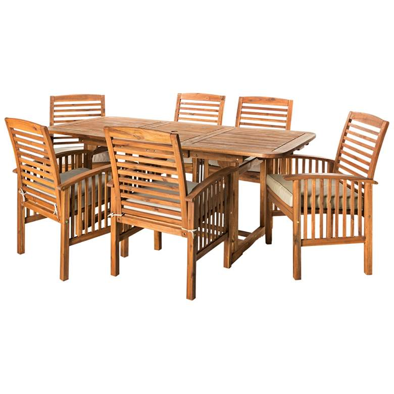 Preston Brown Acacia 7-Piece Patio Dining Set with Cushions