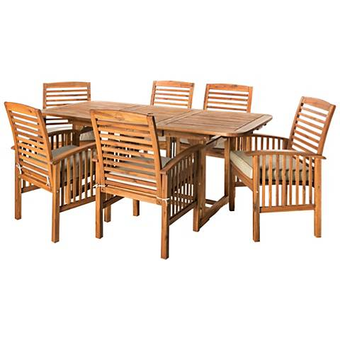 Preston Brown Acacia 7-Piece Patio Dining Set with Cushions