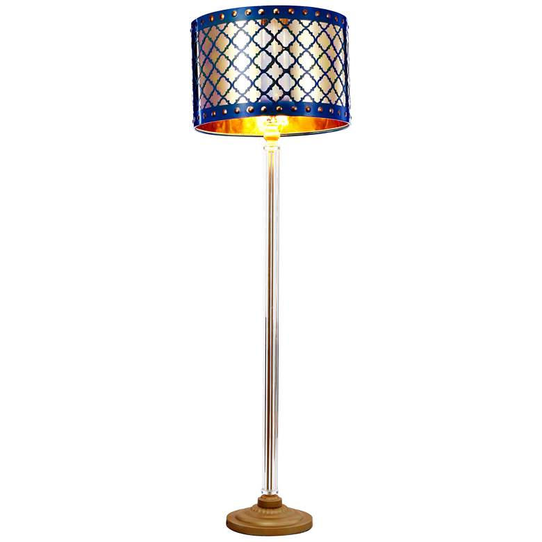 Beverley Gold and Navy Blue Column Floor Lamp