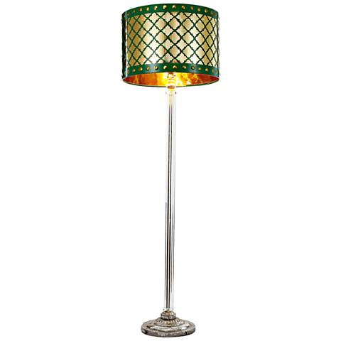 Beverley Gold and Green Column Floor Lamp
