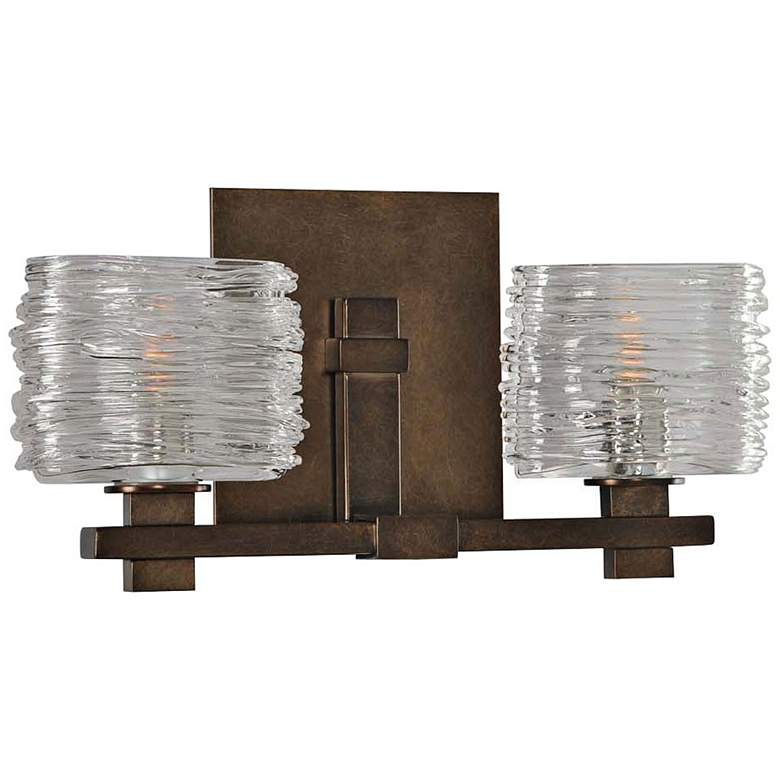 "Clearwater 13 1/2"" Wide Vintage Bronze 2-Light Bath Light"