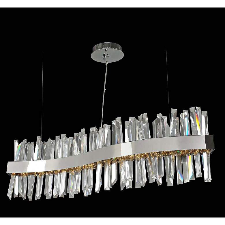 "Glacier 42""W Chrome Wave LED Kitchen Island Light Pendant"