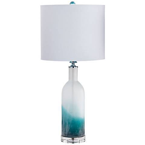 Elixir Turquoise and White Glass Table Lamp
