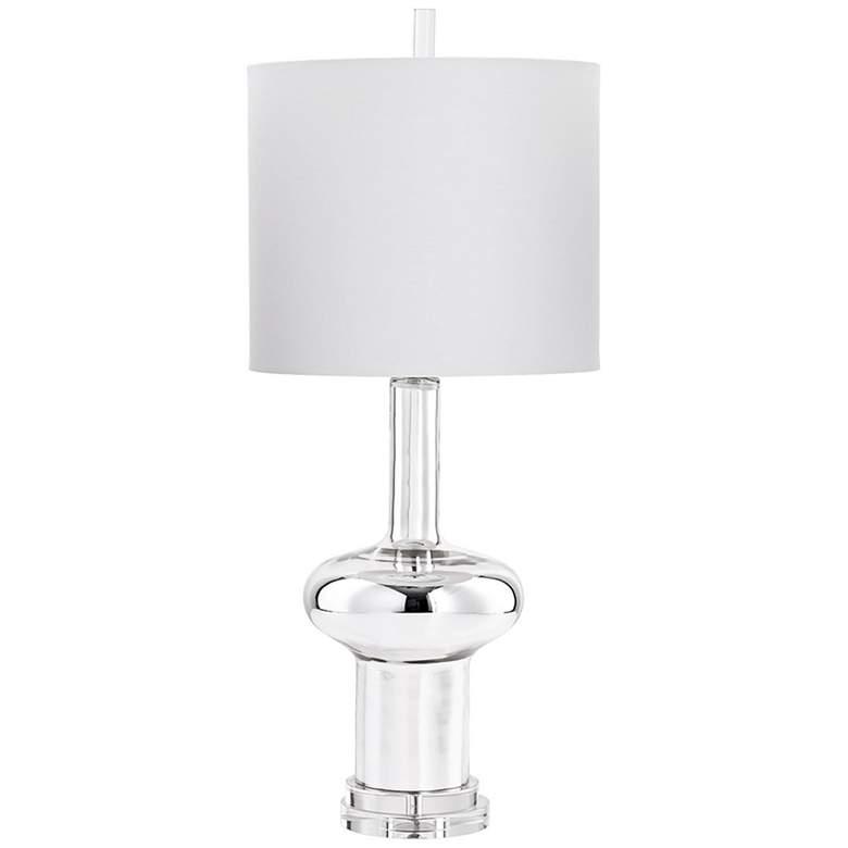 Moon Raked Nickel Glass Table Lamp