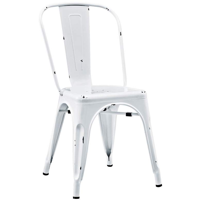 Glennon Antique White Metal Cafe Chair