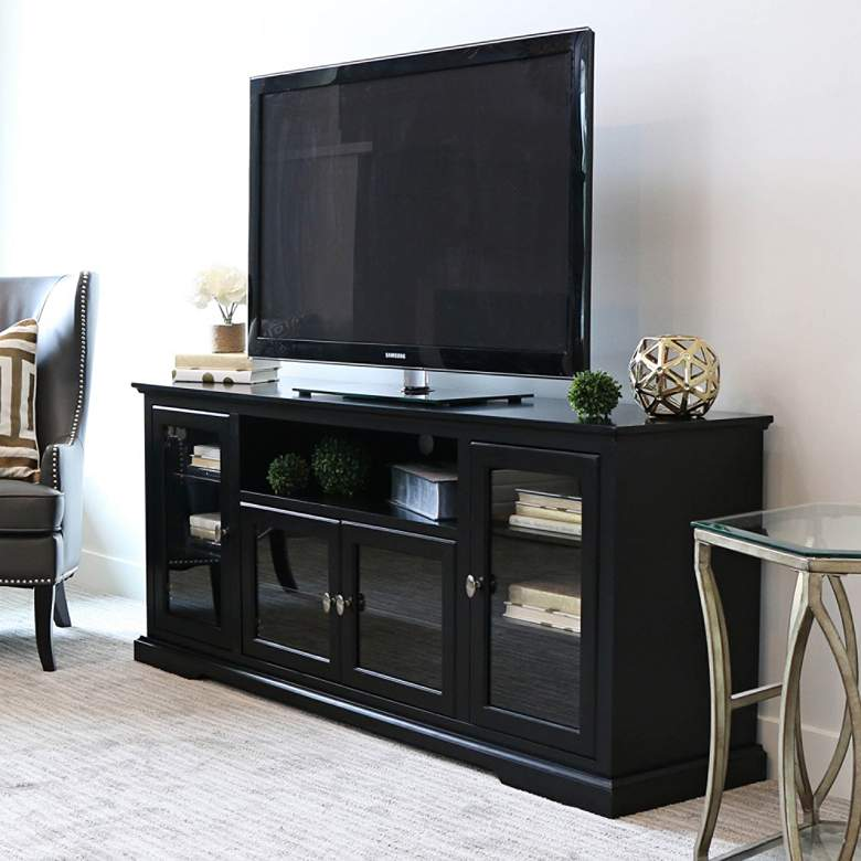 "Cass 70"" Wide Black Wood 4-Door TV Stand with Glass Doors"