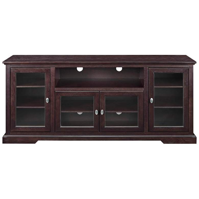 """Cass 70"""" Wide Espresso Wood 4-Door TV Stand with Glass Doors"""