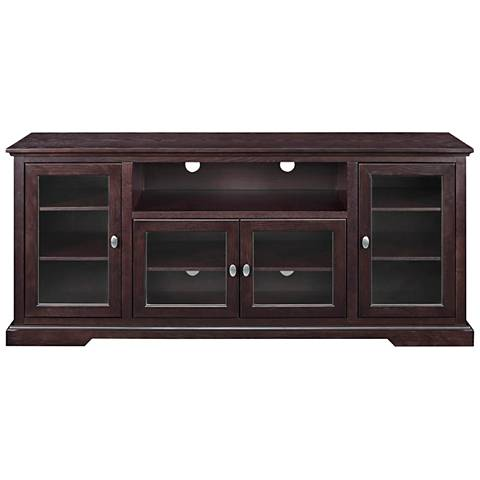 Cass Highboy Style Espresso Wood 4-Door TV Stand