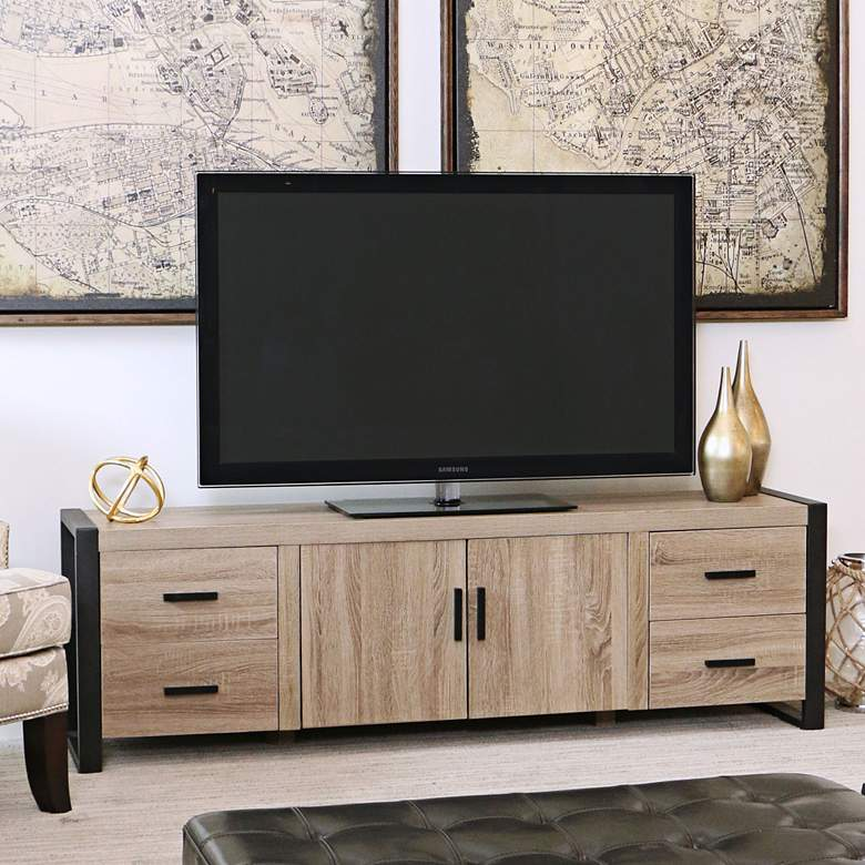 """Urban Blend 71"""" Wide Driftwood Finish TV Stand Console"""