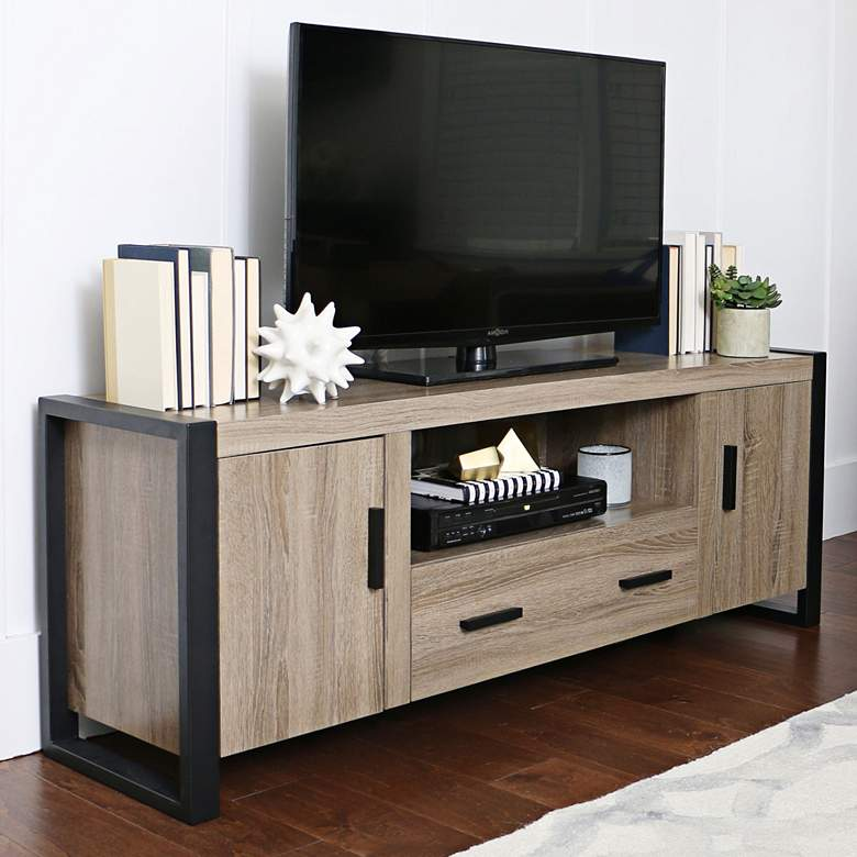 "Urban Blend 60"" Wide Driftwood Finish TV Stand Console"