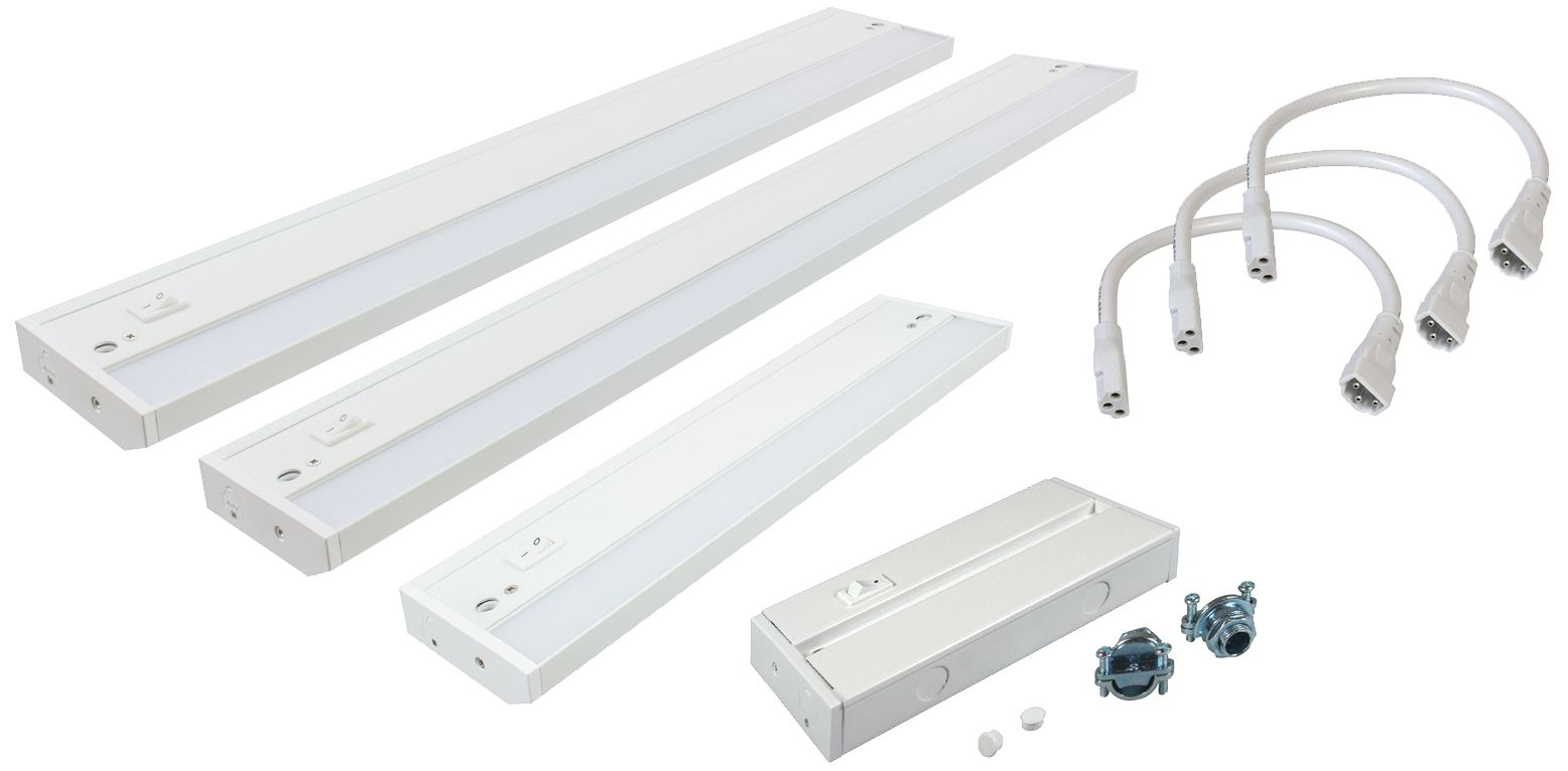 Complete LED Under Cabinet Light Kit With Hardwire Box