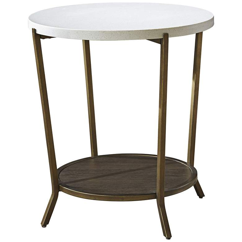 """Playlist 26"""" High Brown-Eyed-Girl Stone Top Modern End Table"""