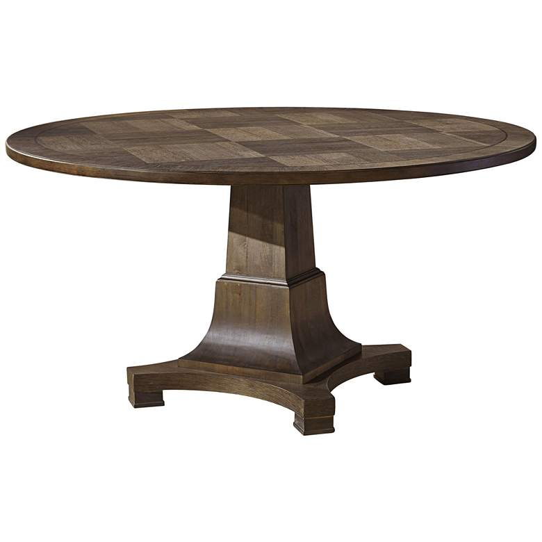 "Playlist 58"" Wide Brown Eyed Girl Wood Round Dining Table"