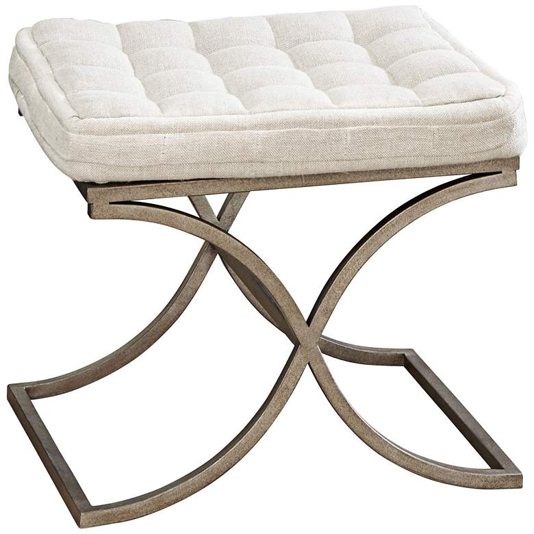 Moderne Muse Aged Nickel and Fabric Bed End