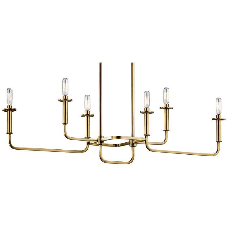 "Kichler Alden 38 1/2""W Brass 6-Light Linear Chandelier"