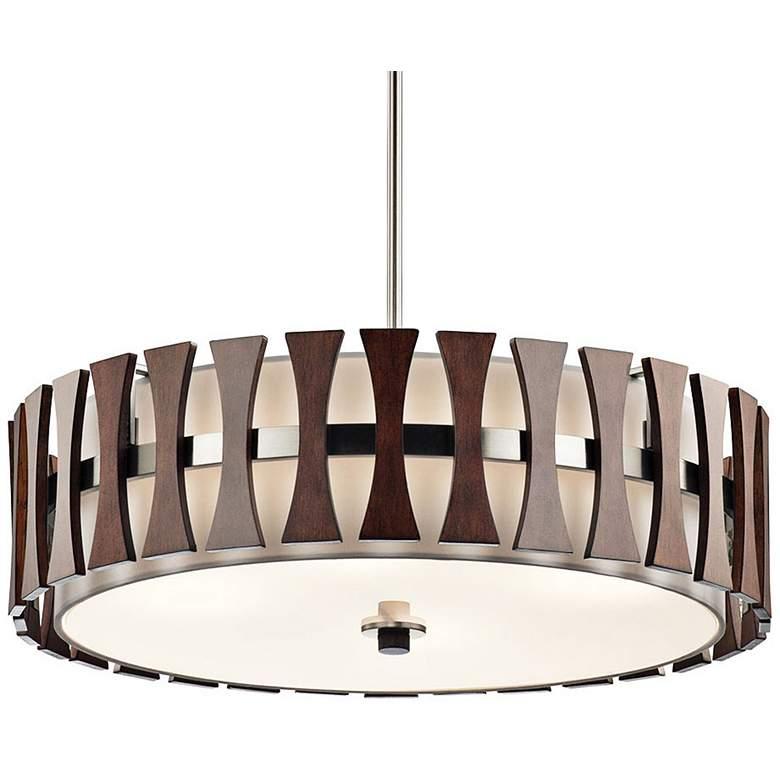 "Kichler Cirus 24"" Wide Auburn Wood Convertible Pendant Light"