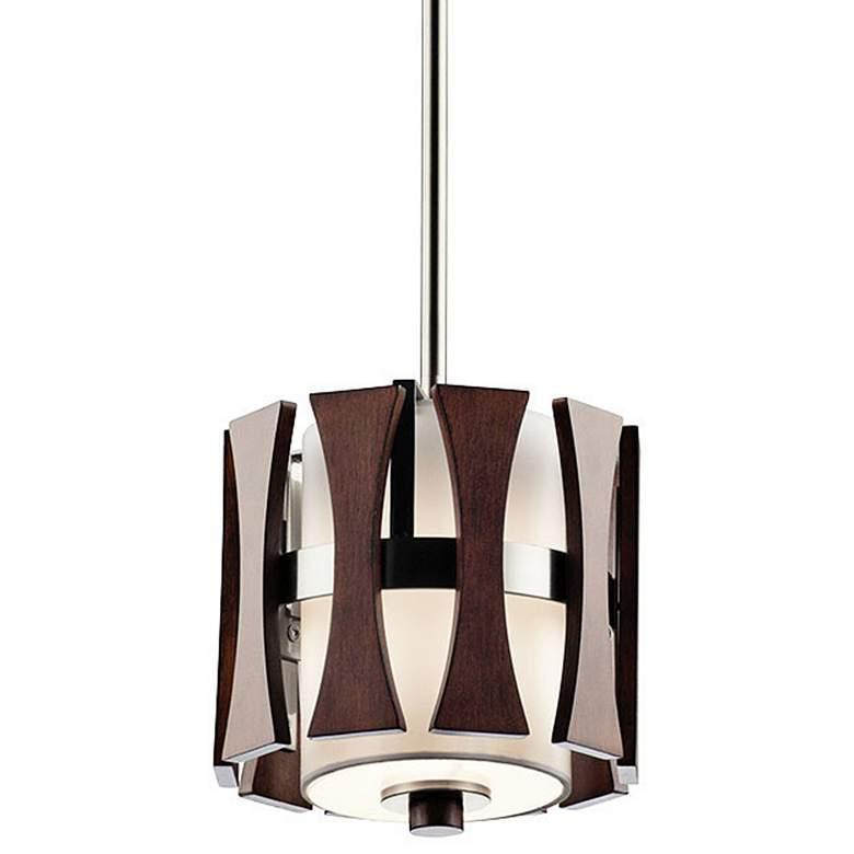 """Kichler Cirus 8"""" Wide Auburn Wood 1-Light Mini Pendant"""