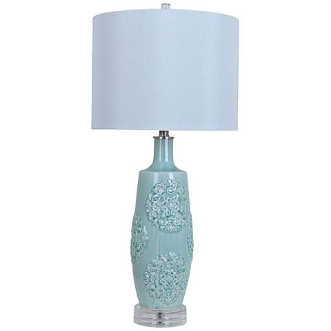 Crestview Collection Fiori Blue Ceramic Table Lamp