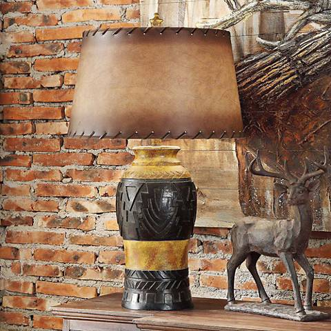 Crestview Collection Reservation Iron and Wood Table Lamp