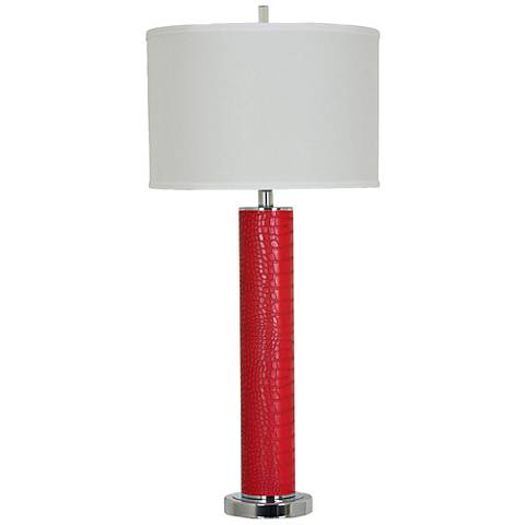 Crestview Collection Hardy Red and Chrome Table Lamp
