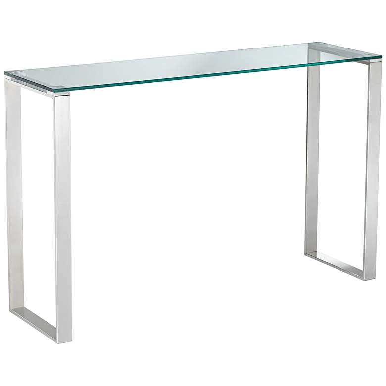 "David 47 1/2"" Wide Steel And Glass Modern Console Table"