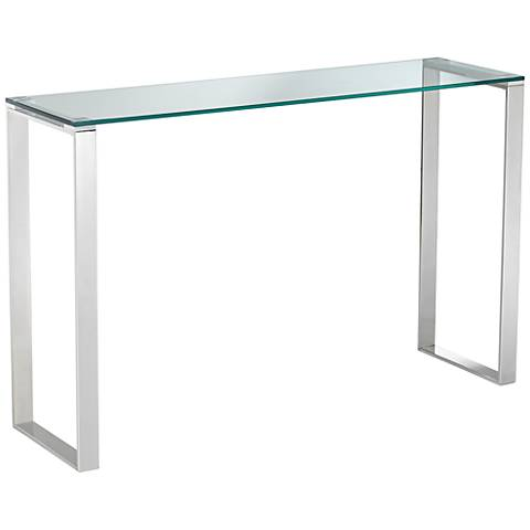 """David 47 1/2""""W Modern Polished Stainless Steel Console Table"""