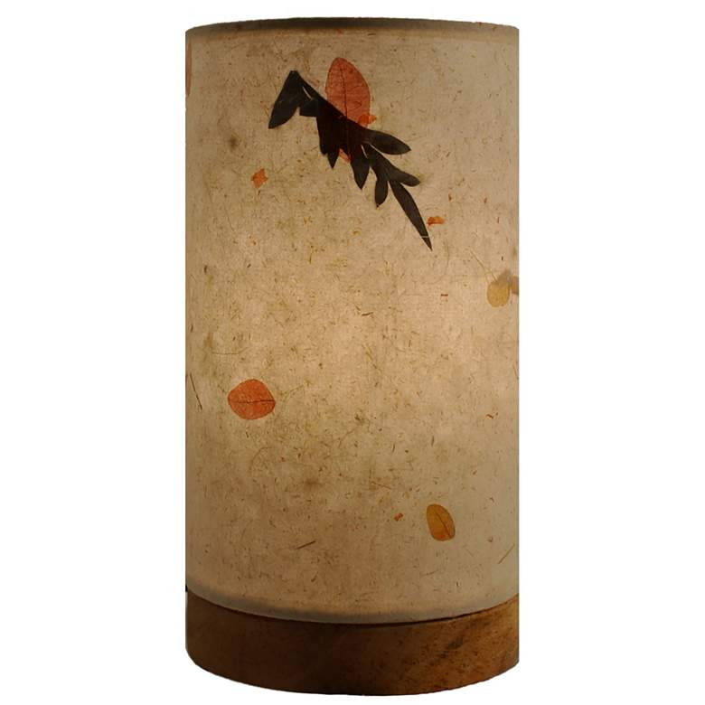 "Eangee 9""H Paper Cylinder Fern Mini Table Accent Lamp"