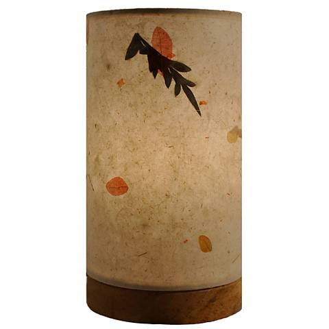 """Eangee 9""""H Paper Cylinder Fern Mini Table Accent Lamp"""