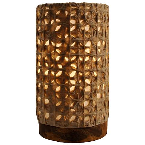 "Eangee 9""H Paper Cylinder Mesh Mini Accent Table Lamp"