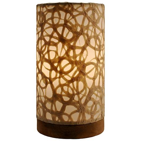 "Eangee 9""H Paper Cylinder Swirl Mini Table Accent Lamp"
