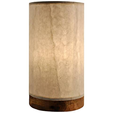"1Eangee 9""H Paper Cylinder Glacier Mini Table Accent Lamp"