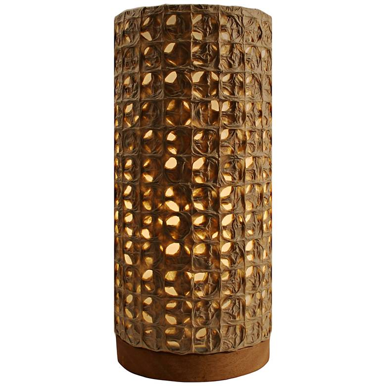 """Eangee 13""""H Paper Cylinder Mesh Hand-Made Small Table Lamp"""