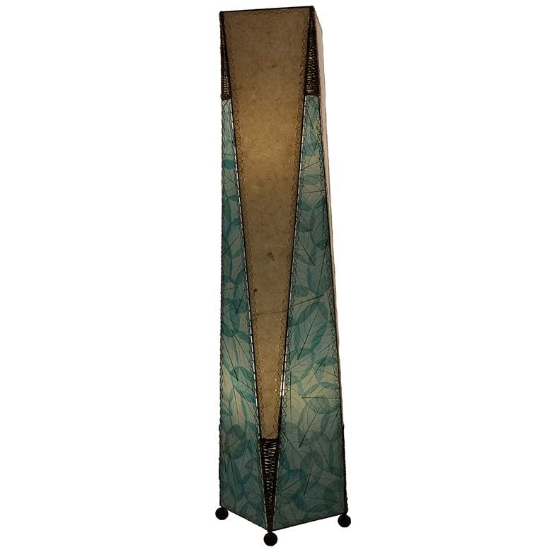 Eangee Trapezoid Blue Hand-Made Paper Large Floor Lamp