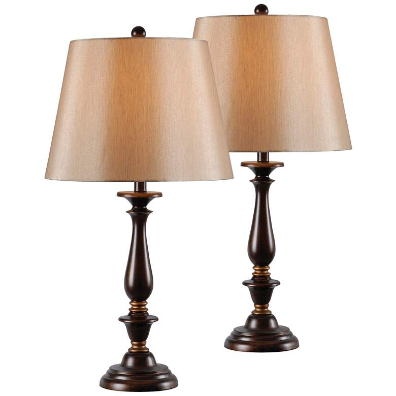 Golden Bronze Traditional Candlestick Table Lamps Set of 2