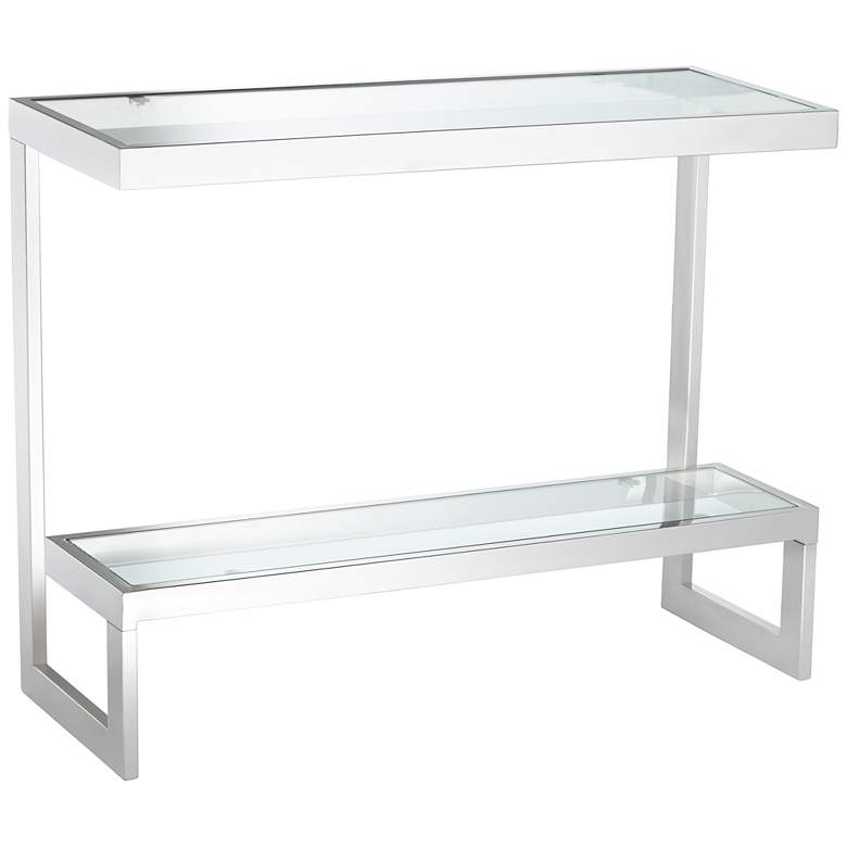 "Rico 39 1/2"" Wide Chrome Glass Shelf Modern Console Table"