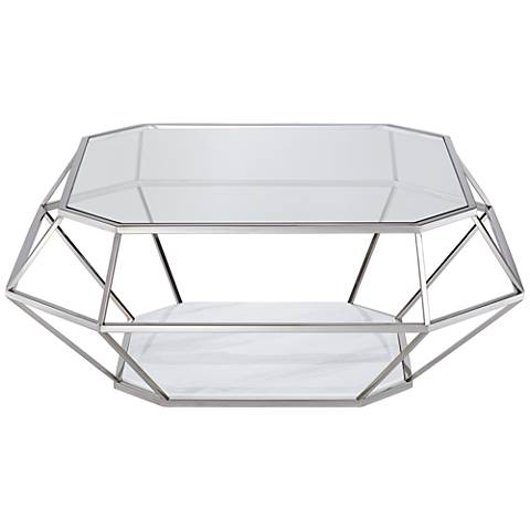 Venus Tempered Glass Stainless Steel Geometric Coffee Table