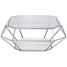 Venus Tempered Glass Stainless Steel Geometric Coffee Table