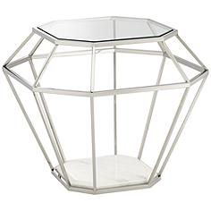Venus Tempered Glass Stainless Steel Geometric End Table