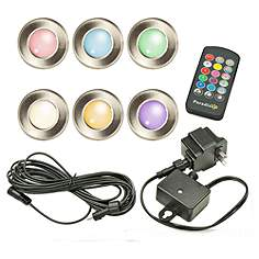 Multi color low voltage landscape lighting lamps plus rainbow 1 12 wide silver low voltage 6 pack led deck light aloadofball Image collections