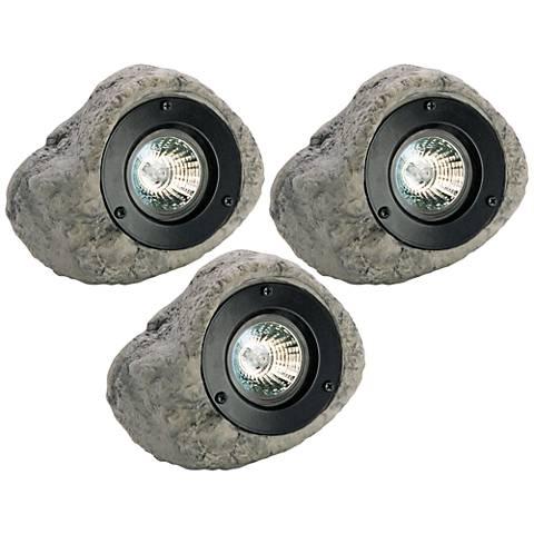 """Pebble 4 3/4"""" High Rock Low Voltage 3-Piece Spot Light Kit"""