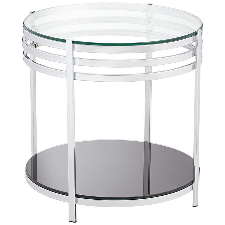 Super Rico 21 Wide Chrome And Glass Modern Round End Table Interior Design Ideas Ghosoteloinfo