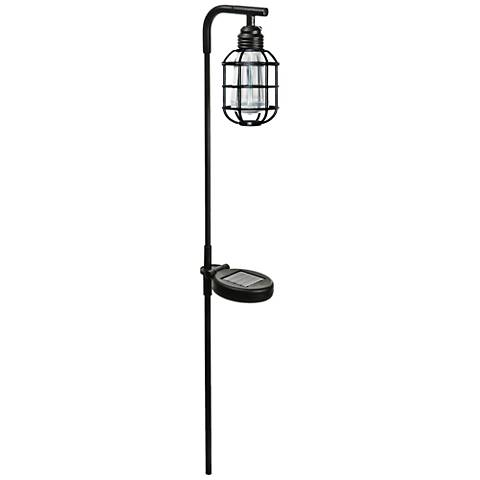 "Liam 30 1/4"" High Black Solar LED Edison Stick Light"