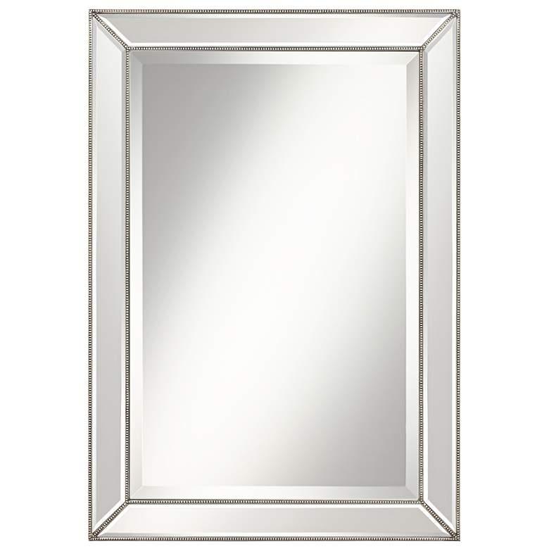 "Roseau Silver Pewter 24"" x 34"" Beaded Wall Mirror"
