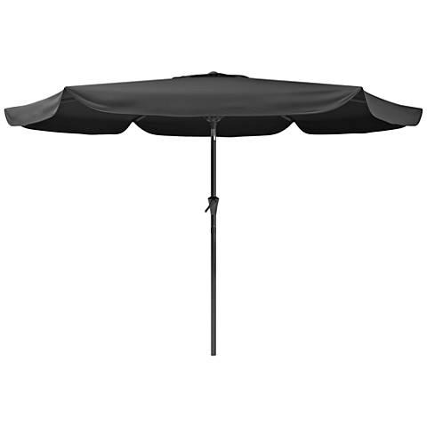 Hoba 9 3/4-Foot Black Fabric Tilting Patio Umbrella