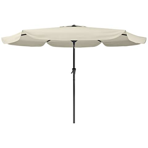 Hoba 9 3/4-Foot Warm White Fabric Tilting Patio Umbrella