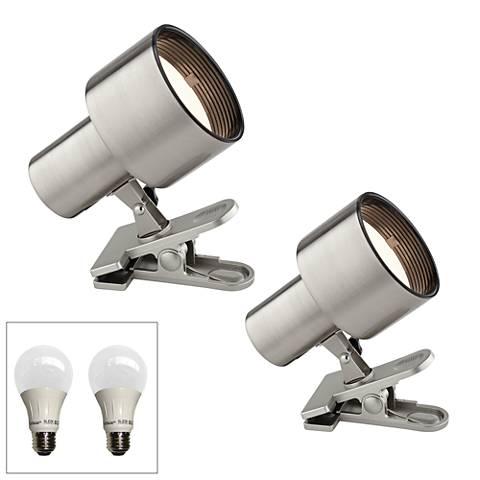 "Satin Nickel 6"" High LED Mini Accent Clip Light Set of 2"
