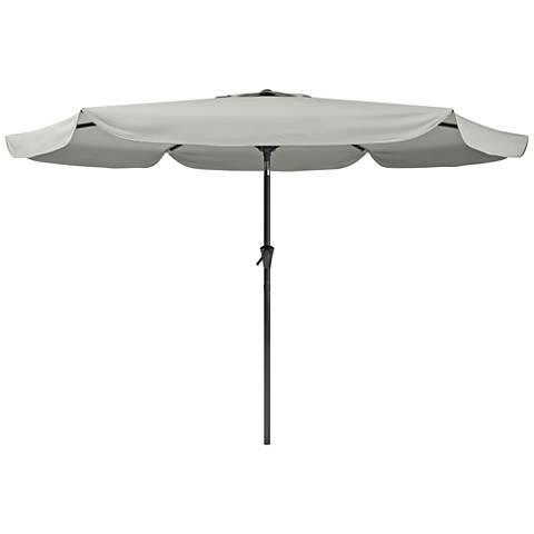 Hoba 9 3/4-Foot Sand Gray Fabric Tilting Patio Umbrella